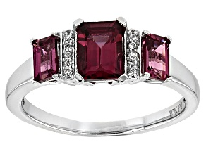 Grape Color Garnet 10k White Gold Ring 1.62ctw
