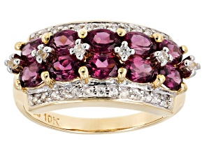 Grape Color Garnet 10k  yellow gold ring 2.16ctw