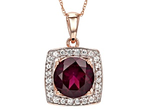Grape Color Garnet 10k Rose Gold Pendant With Chain 2.37ctw