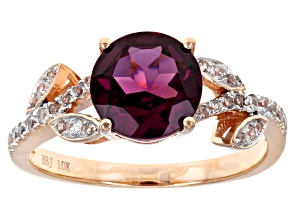 Grape Color Garnet 10k Rose Gold Ring 2.32ctw