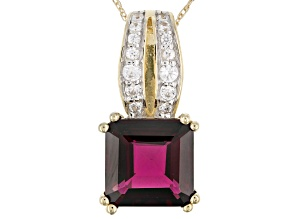 Grape Color Garnet 10k yellow Gold Pendant With Chain 2.82ctw