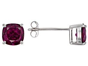 Grape Color Garnet 10k White Gold Earrings 1.87ctw