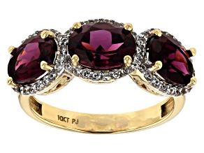 Grape color garnet 10k yellow gold ring 4.26ctw