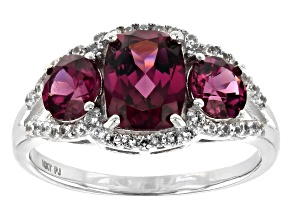 Grape color garnet rhodium over 10k white gold ring 2.82ctw