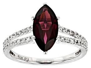Grape Color Garnet Rhodium Over 10k White Gold Ring 2.18ctw