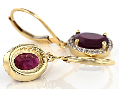 Grape Color Garnet 10k Yellow Gold Earrings 2.80ctw