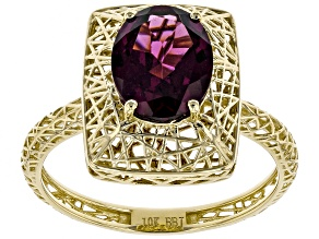Grape Color Garnet 10k Yellow Gold Ring 1.78ct