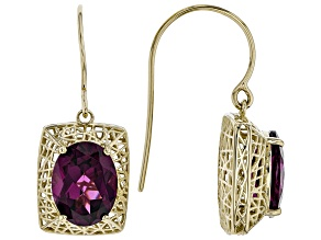 Grape Color Garnet 10k Yellow Gold Earrings 3.57ctw