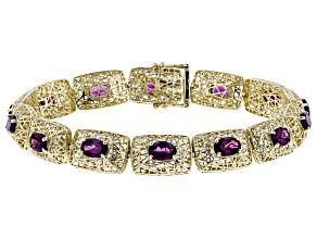 Grape Color Garnet 10k Yellow Gold Bracelet 7.85ctw