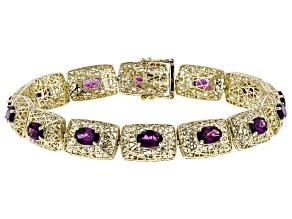 Grape Color Garnet 10k Yellow Gold Bracelet 7.85ctw