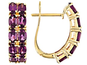 Grape Color Garnet 10k Yellow Gold Earrings 5.05ctw