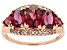 Grape Color Garnet 10k Rose Gold Ring 3.26ctw.
