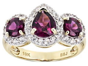 Grape Color Garnet 10k Yellow Gold Ring 2.71ctw