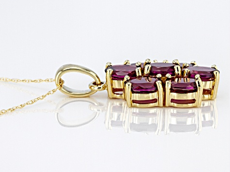 Grape Color Garnet 10k Yellow Gold Pendant With Chain 3.52ctw