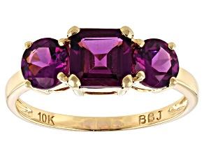 Grape Color Garnet 10k Yellow Gold Ring 2.36ctw