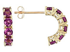 Grape Color Garnet 10k Yellow Gold Earrings 1.32ctw