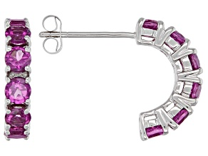 Grape Color Garnet Rhodium Over 10k White Gold Earrings 1.32ctw