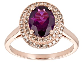 Grape Color Garnet 10k Rose Gold Ring 1.90ctw