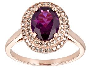 Grape Color Garnet 10k Rose Gold Ring 1.89ctw