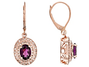 Grape Color Garnet 10k Rose Gold Earrings 1.99ctw