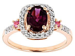 Grape Color Garnet 10k Rose Gold Ring 1.45ctw