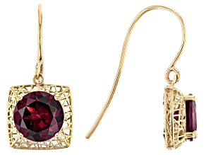 Purple Garnet 10k Yellow Gold Filigree Earrings 3.12ctw
