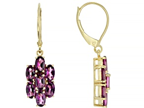 Grape Color Garnet 10k Yellow Gold Earrings 3.50