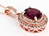 Grape Color Garnet 10k Rose Gold Pendant With Chain 1.38ctw