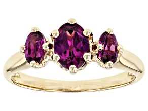 Purple Garnet 10k Yellow Gold Ring 1.28ctw