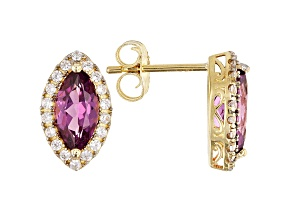 Grape Color Garnet 10k Yellow Gold Drop Earrings 1.47ctw
