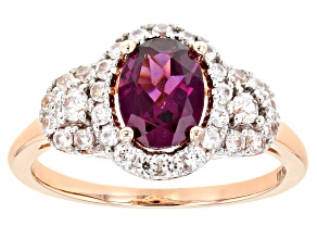 Grape Color Garnet 10k Rose Gold Ring 2.29ctw