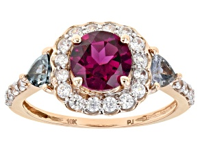 Grape Color Garnet 10k Rose Gold Ring 2.21ctw
