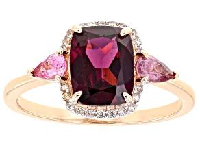 Grape Color Garnet 10k Rose Gold Ring 2.58ctw