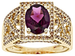 Purple Garnet 10k Yellow Gold Ring 2.36ctw