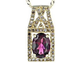 Grape Color Garnet 10k Yellow Gold Pendant With Chain 1.42ctw