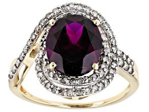 Grape Color Garnet 10k Yellow Gold Ring 4.29ctw
