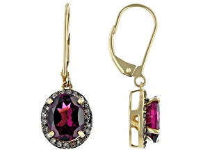 Grape Color Garnet 10k Yellow Gold Earrings 4.52ctw