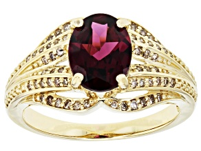 Grape Color Garnet 10k Yellow Gold Ring 1.80ctw