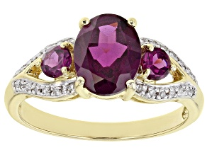 Grape Color Garnet 10k Yellow Gold Ring 1.93ctw