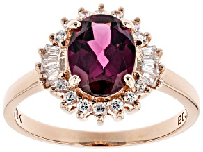 Grape Color Garnet 10k Rose Gold Ring 2.33ctw