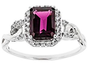 Grape Color Garnet Rhodium Over 10k White Gold Ring 1.94ctw