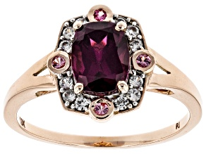 Grape Color Garnet 10k Rose Gold Ring 2.01ctw