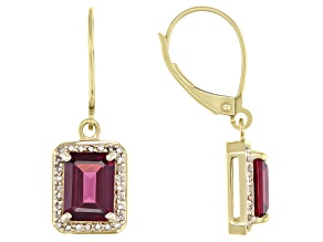 Grape Color Garnet 10k Yellow Gold Earrings 3.55ctw