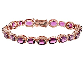 Grape Color Garnet 10k Rose Gold Bracelet 17.38ctw