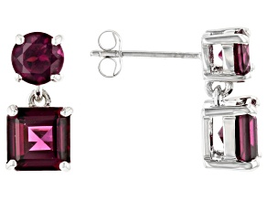 Grape Color Garnet Rhodium Over 10k White Gold Earrings 3.62ctw