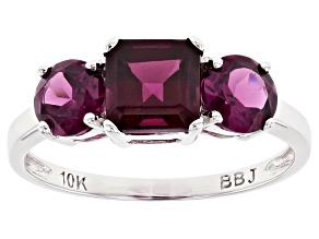 Grape Color Garnet Rhodium Over 10k White Gold Ring 2.36ctw
