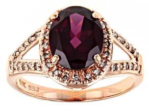 Grape Color Garnet 14k Rose Gold Ring 2.73ctw