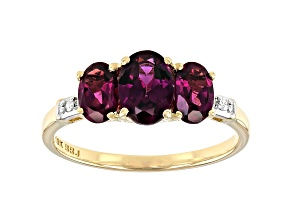 Grape Color Garnet 10k Yellow Gold Ring 1.78ctw