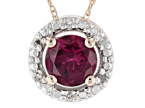 Grape Color Garnet 10k Rose Gold Pendant With Chain 0.55ctw