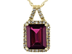Purple Garnet 14k Yellow Gold Pendant With Chain 3.30ctw